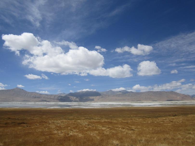 Tso Kar, white salt lake, nomadic settlements can be found here.